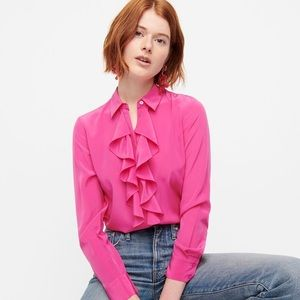 NWT J Crew Collection Pink Ruffle Front Silk Blouse
